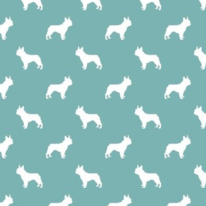 boston terrier silhouette fabric dog silhouette design - gulf blue