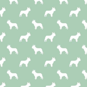 boston terrier silhouette fabric dog silhouette design - mint green
