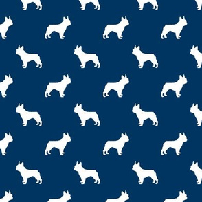 boston terrier silhouette fabric dog silhouette design - navy