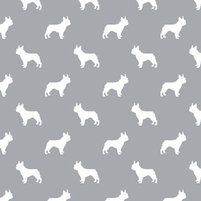 boston terrier silhouette fabric dog silhouette design - quarry grey