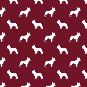 boston terrier silhouette fabric dog silhouette design - ruby red