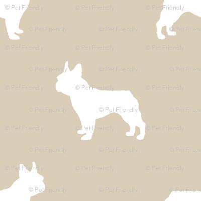 boston terrier silhouette fabric dog silhouette design - sand