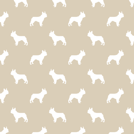 boston terrier silhouette fabric dog silhouette design - sand fabric by petfriendly on Spoonflower - custom fabric