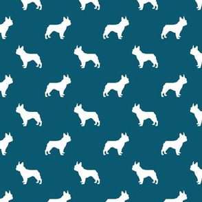 boston terrier silhouette fabric dog silhouette design - sapphire blue