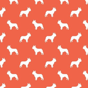 boston terrier silhouette fabric dog silhouette design - scarlet