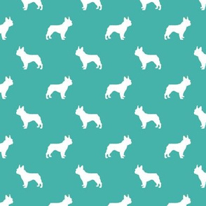 boston terrier silhouette fabric dog silhouette design - turquoise