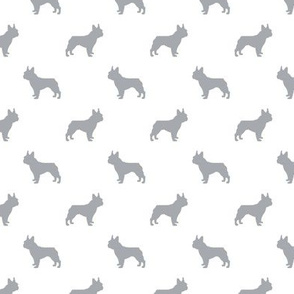 boston terrier silhouette fabric dog silhouette design - white and grey