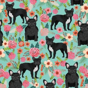 french bulldog floral fabric - black frenchie fabric