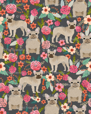 french bulldog floral fabric - fawn frenchie fabric