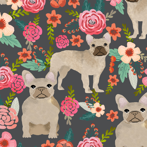 french bulldog floral fabric - fawn frenchie fabric fabric by petfriendly on Spoonflower - custom fabric