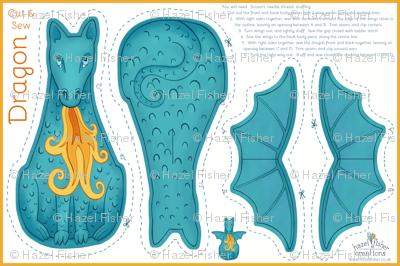 Dragon Cut and Sew Plushie - Blue