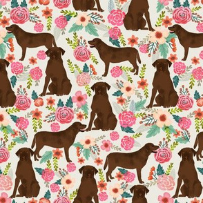 chocolate lab florals fabric labrador retriever floral fabric
