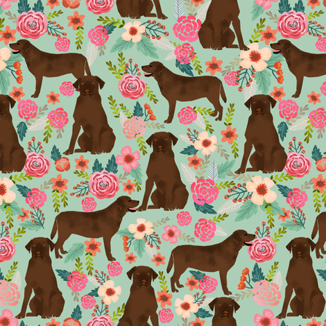 chocolate lab florals fabric labrador retriever floral fabric fabric by petfriendly on Spoonflower - custom fabric