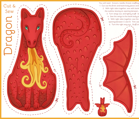 Dragon Cut and Sew Plushie - Red fabric by hazel_fisher_creations on Spoonflower - custom fabric
