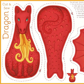 Dragon Cut and Sew Plushie - Red