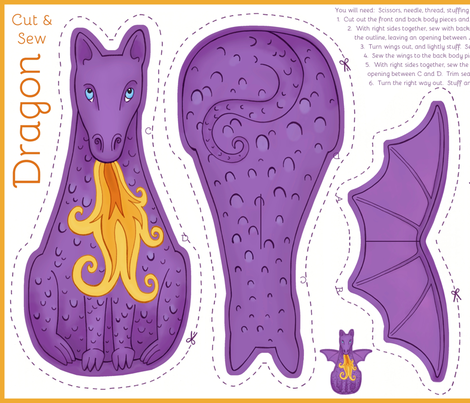 Dragon Cut and Sew Plushie - Purple fabric by hazel_fisher_creations on Spoonflower - custom fabric