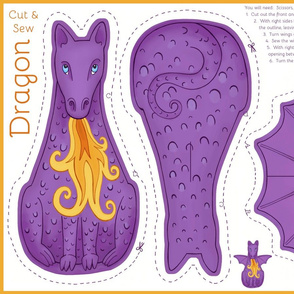 Dragon Cut and Sew Plushie - Purple