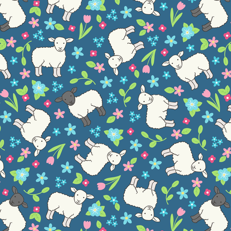Ditsy Sheep on mid blue fabric by hazel_fisher_creations on Spoonflower - custom fabric