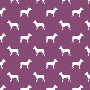 pitbull silhouette fabric dog dogs fabric - amethyst