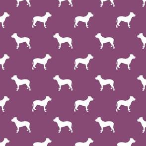 pitbull silhouette fabric dog dogs fabric - amethyst