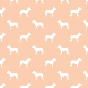 pitbull silhouette fabric dog dogs fabric - apricot