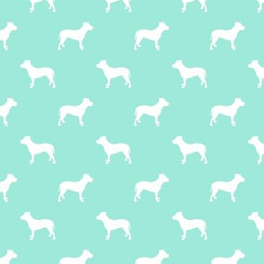 pitbull silhouette fabric dog dogs fabric - aqua