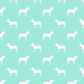 pitbull silhouette fabric dog dogs fabric - aqua