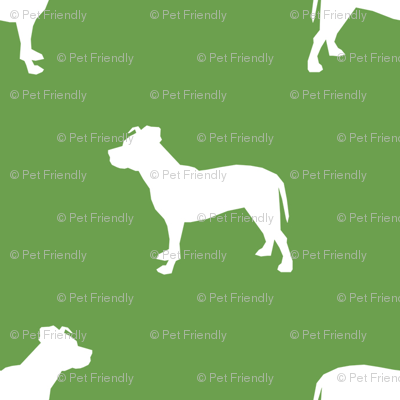 pitbull silhouette fabric dog dogs fabric - asparagus