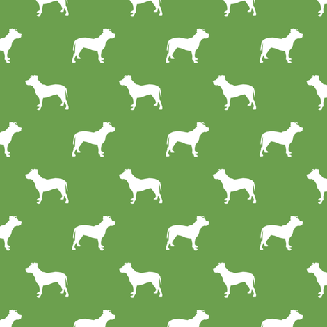 pitbull silhouette fabric dog dogs fabric - asparagus fabric by petfriendly on Spoonflower - custom fabric