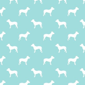 pitbull silhouette fabric dog dogs fabric - blue tint