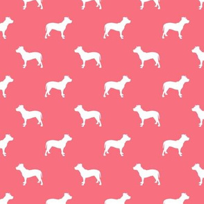 pitbull silhouette fabric dog dogs fabric - brink pink