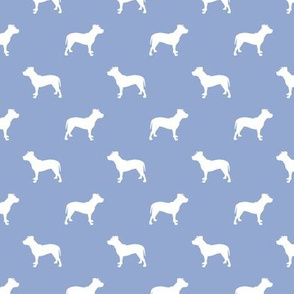 pitbull silhouette fabric dog dogs fabric - cerulean