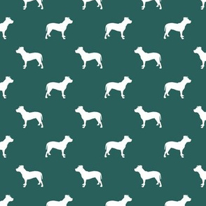 pitbull silhouette fabric dog dogs fabric - eden green