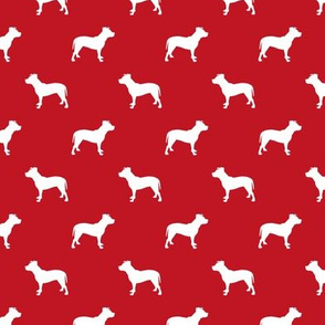 pitbull silhouette fabric dog dogs fabric - fire red