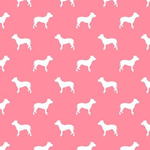 pitbull silhouette fabric dog dogs fabric - flamingo pink