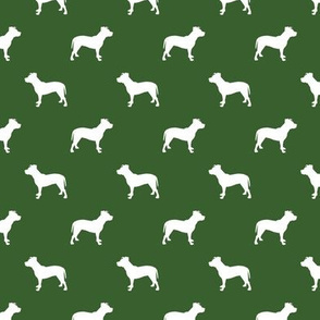 pitbull silhouette fabric dog dogs fabric - garden green