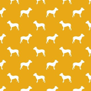pitbull silhouette fabric dog dogs fabric - goldenrod