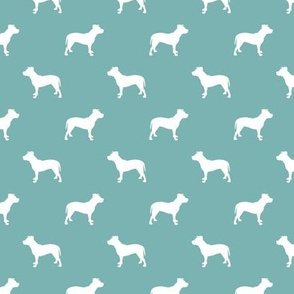 pitbull silhouette fabric dog dogs fabric - gulf blue