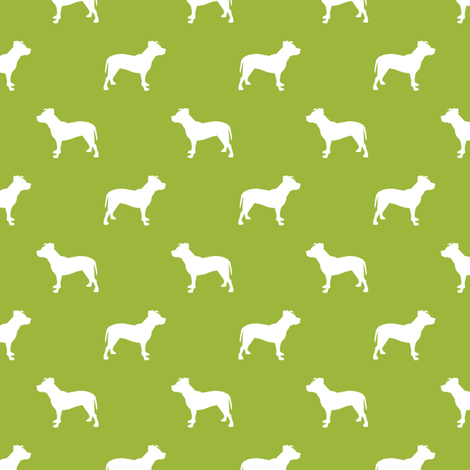 pitbull silhouette fabric dog dogs fabric - lime green fabric by petfriendly on Spoonflower - custom fabric