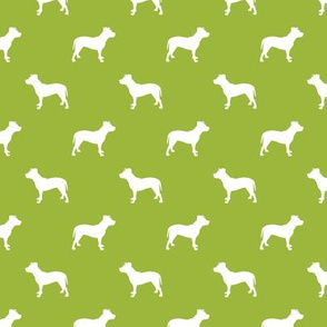 pitbull silhouette fabric dog dogs fabric - lime green