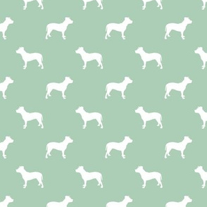 pitbull silhouette fabric dog dogs fabric - mint green