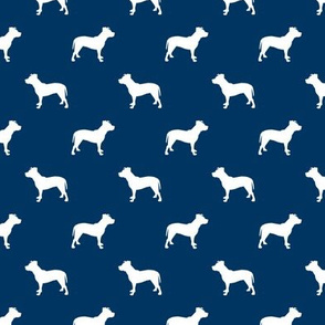pitbull silhouette fabric dog dogs fabric - navy