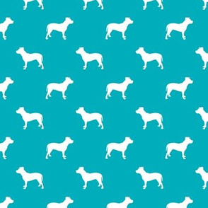 pitbull silhouette fabric dog dogs fabric - peacock