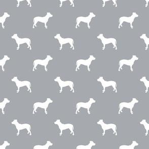 pitbull silhouette fabric dog dogs fabric - quarry