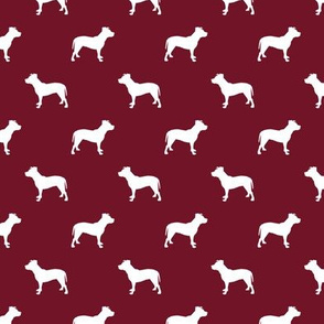 pitbull silhouette fabric dog dogs fabric - ruby red