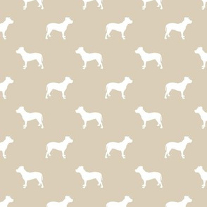 pitbull silhouette fabric dog dogs fabric - sand