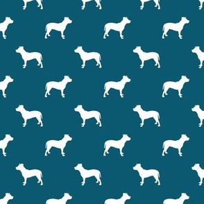pitbull silhouette fabric dog dogs fabric - sapphire blue
