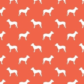 pitbull silhouette fabric dog dogs fabric - scarlet