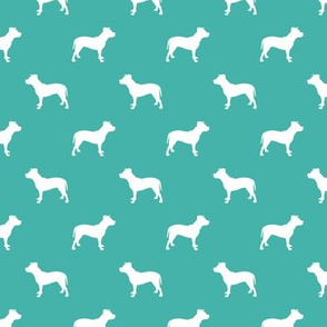 pitbull silhouette fabric dog dogs fabric - turquoise