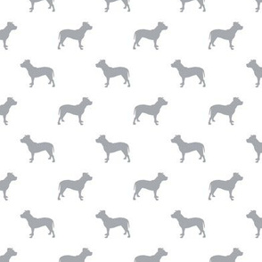 pitbull silhouette fabric dog dogs fabric - white and quarry grey
